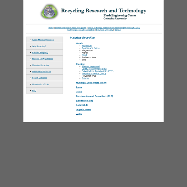 Home | Sustainable Use of Resources (SUR) | Waste-to-Energy Research and Technology Council (WTERT) Earth Engineering Center (EEC) | Columbia University | Contact