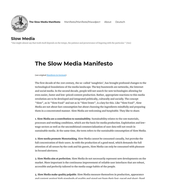 (see original Manifesto in German) The first decade of the 21st century, the so-called 'naughties', has brought profound changes to the technological foundations of the media landscape. The key buzzwords are networks, the Internet and social media. In the second decade, people will not search for new technologies allowing for even easier, faster and low-priced content production.