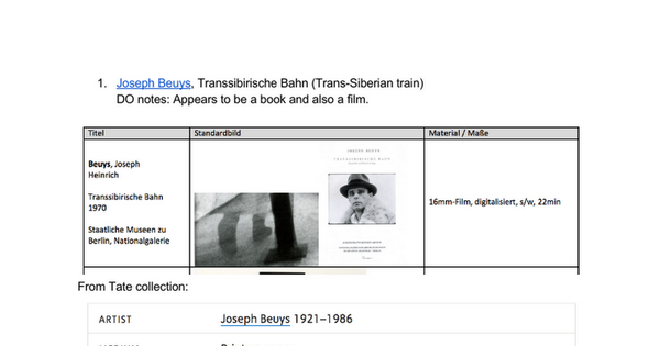 "Joseph Beuys, Transsibirische Bahn (Trans-Siberian train) DO notes: Appears to be a book and also a film. From Tate collection: ""Trans-Siberian orbit called Joseph Beuys his"" action for the camera, ""which he recorded in 1970. The artist is her only actor, dressed in a white fur coat The v..."