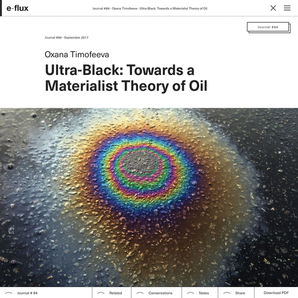 Ultra-Black: Towards a Materialist Theory of Oil