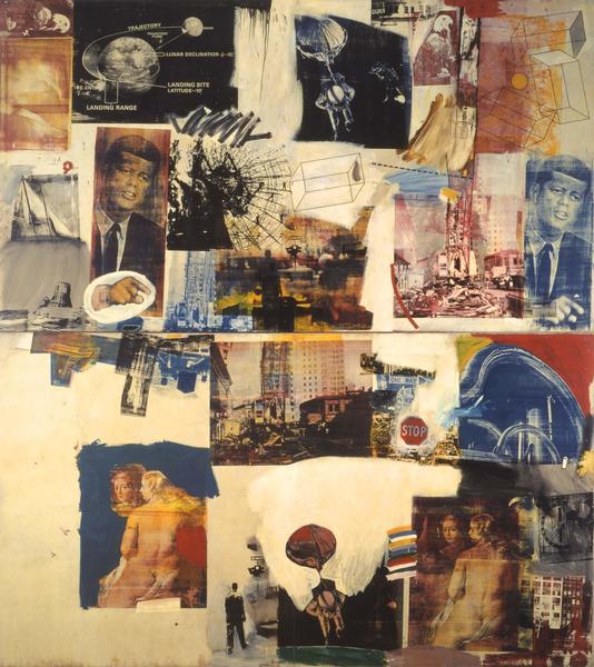 Robert Rauschenberg, SKYWAY 1964 Oil and silkscreen ink on canvas  216 x 192 inches  (548.6 x 487.7 cm)