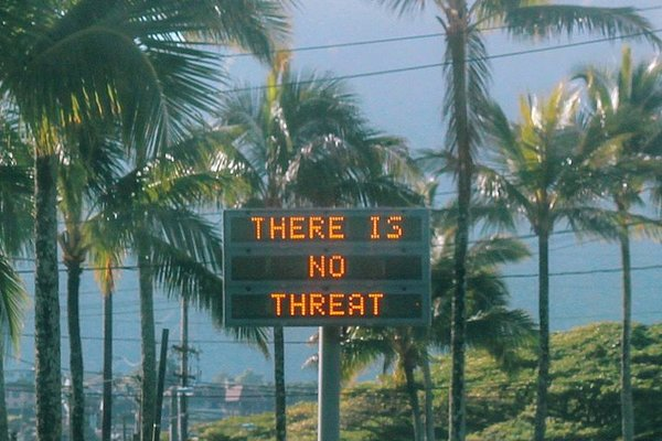 An electronic sign in Oahu, Hawaii, after an emergency alert mistakenly warned residents that a ballistic missile was headed toward the island.