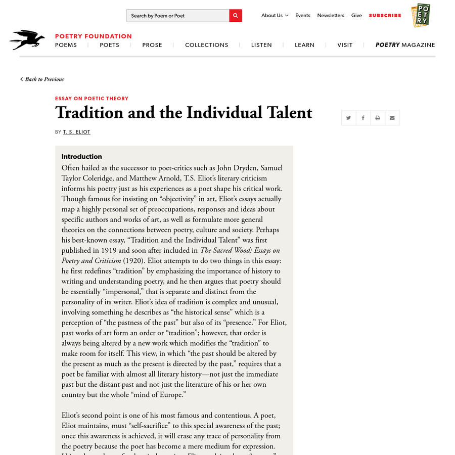 ts eliot tradition and the individual talent main points