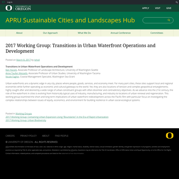 2017 Working Group: Transitions in Urban Waterfront Operations and Development