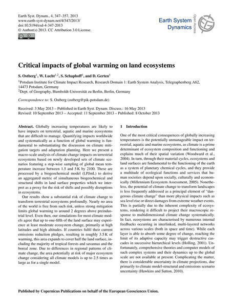 Critical impacts of global warming on land ecosystems