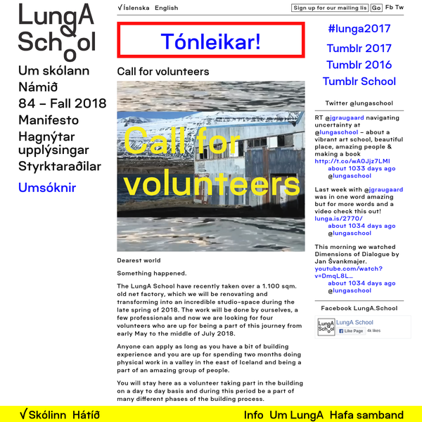 The LungA School have recently taken over a 1.100 sqm. old net factory, which we will be renovating and transforming into an incredible studio-space during the late spring of 2018. The work will be done by ourselves, a few professionals and now we are looking for four volunteers who are up for being a part of this journey from early May to the middle of July 2018.