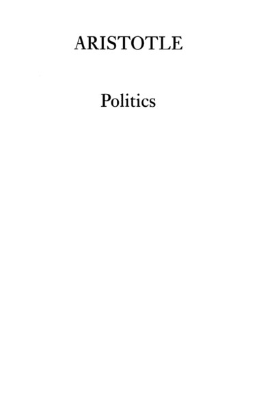 Aristotle - Politics
