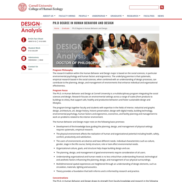 Ph.D Degree in Human Behavior and Design