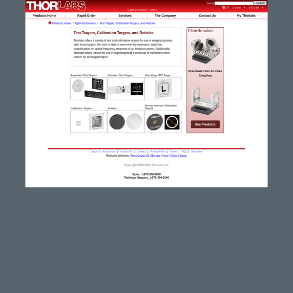 Test Targets, Calibration Targets, and Reticles - Thorlabs