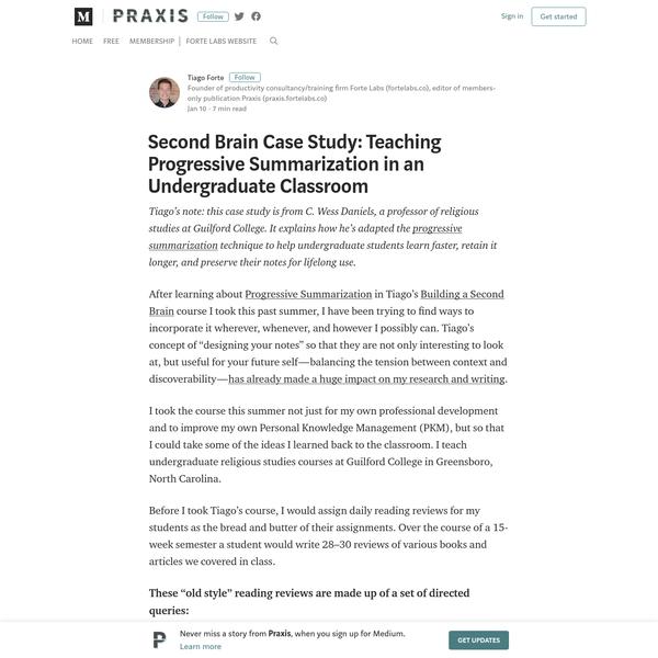 Second Brain Case Study: Teaching Progressive Summarization in an Undergraduate Classroom