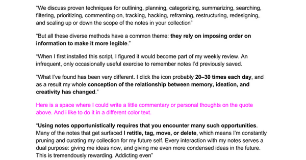 Example Reading Note - P.A.R.A. III: Building an Idea Generator