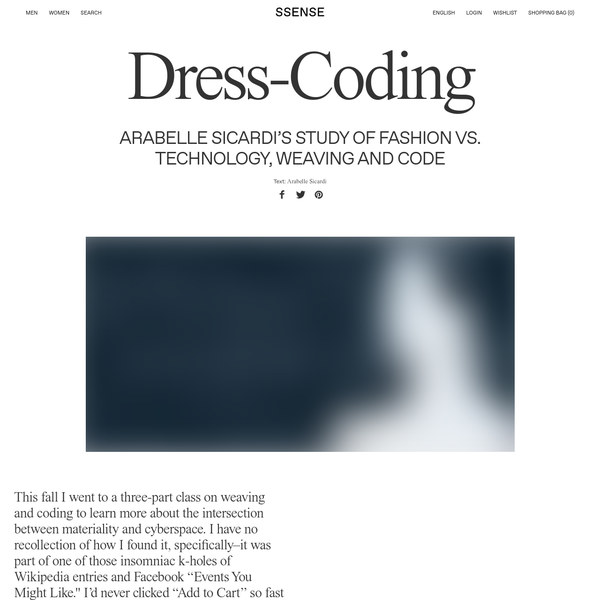 """This fall I went to a three-part class on weaving and coding to learn more about the intersection between materiality and cyberspace. I have no recollection of how I found it, specifically-it was part of one of those insomniac k-holes of Wikipedia entries and Facebook """"Events You Might Like."""""""