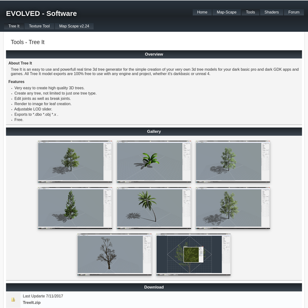Tree It is an easy to use and powerfull real time 3d tree generator for the simple creation of your very own 3d tree models for your dark basic pro and dark GDK apps and games. All Tree It model exports are 100% free to use with any engine and project, whether it's darkbasic or unreal 4.