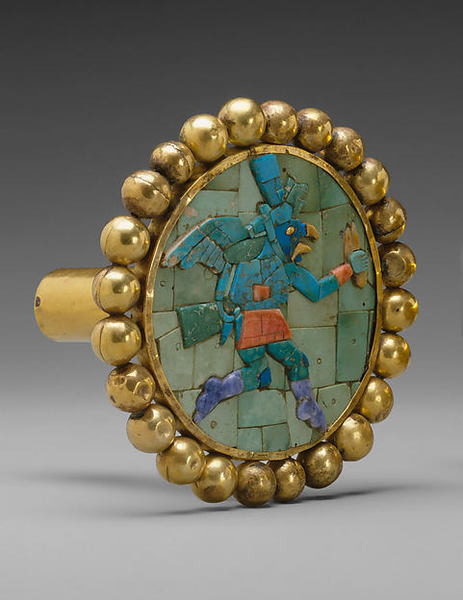 Ear Ornament, Winged Runner Date:A.D. 400–700 Geography:Peru, North Coast Culture:Moche Medium:Gold, turquoise, sodalite, shell