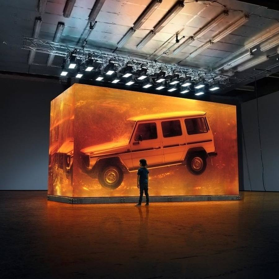 The world's biggest installation of synthetic resin for the @mercedesbenz world premiere of the new G-Class. #HSDrive