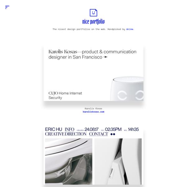 The nicest design portfolios on the web. Handpicked by @kimw.