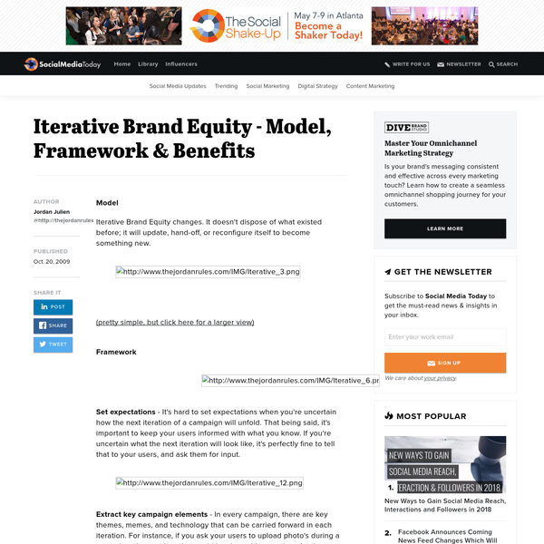 Iterative Brand Equity changes. It doesn't dispose of what existed before; it will update, hand-off, or reconfigure itself to become something new. (pretty simple, but click here for a larger view) Set expectations - It's hard to set expectations when you're uncertain how the next iteration of a campaign will unfold.