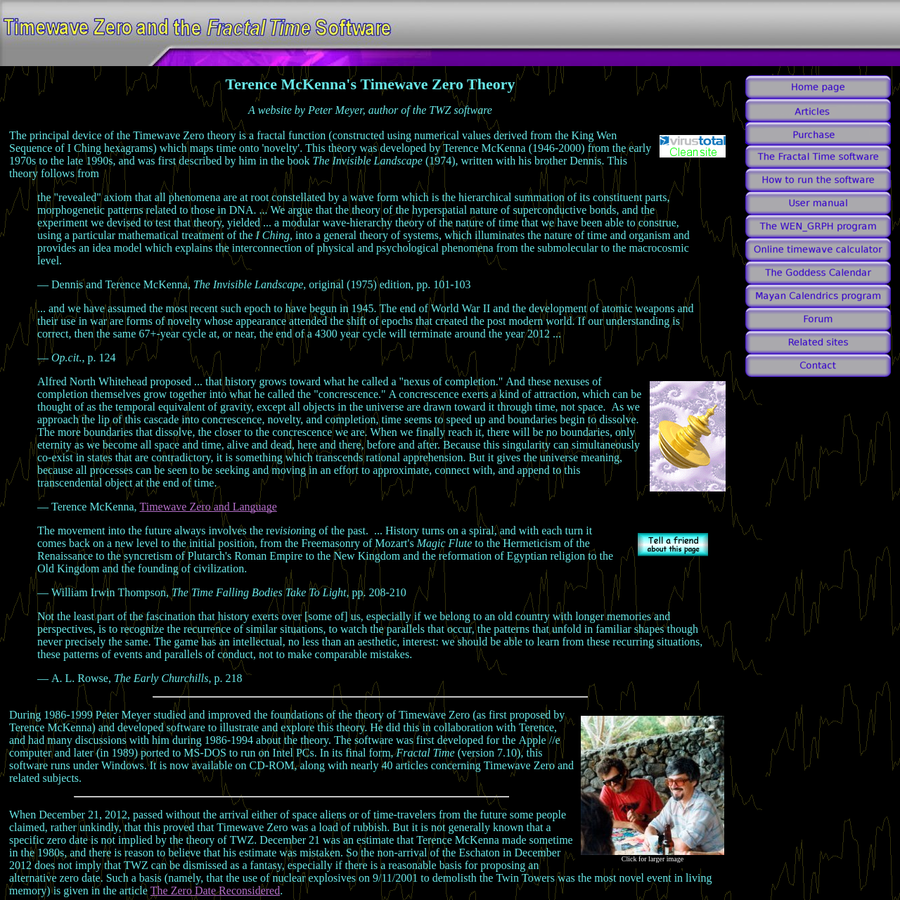 Articles about Terence McKenna and his Timewave Zero theory, plus software for exploring it.