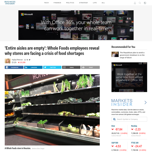 Whole Foods employees say stores are suffering from food shortages because of a newly implemented inventory-management system called order-to-shelf, or OTS. Whole Foods says the system reduces unnecessary inventory, lowers costs, and frees up employees to focus on customer service.