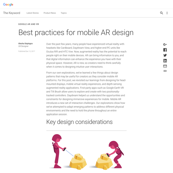 Best practices for mobile AR design