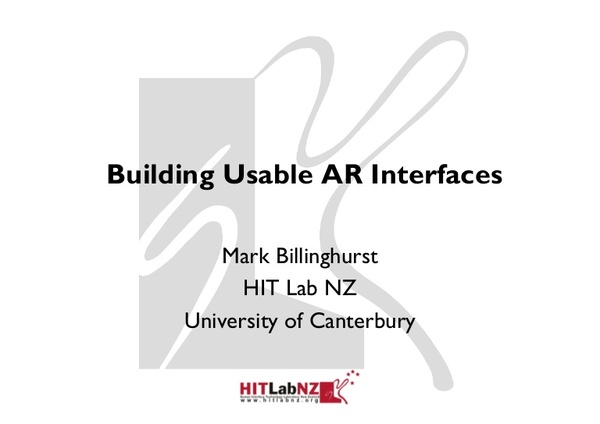 Mark Billinghurst's talk on Building Usable AR Interfaces at the ARE 2012 conference, May 10th 2012