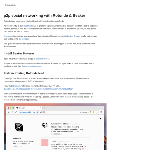 p2p social networking with Rotonde & Beaker Browser - louis.center