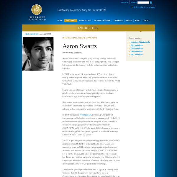 Aaron Swartz | Internet Hall of Fame