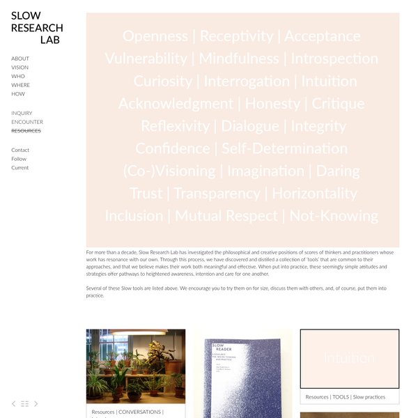For more than a decade, Slow Research Lab has investigated the philosophical and creative positions of scores of thinkers and practitioners whose work has resonance with our own. Through this process, we have discovered and distilled a collection...