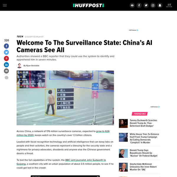 Across China, a network of 176 million surveillance cameras, expected to grow to 626 million by 2020, keeps watch on the country's over 1.3 billion citizens. Loaded with facial recognition technology and artificial intelligence that can keep tabs on people and their activities, the cameras represent a blessing for the security state and a nightmare for privacy advocates, dissidents and anyone else the Chinese government deems a threat.