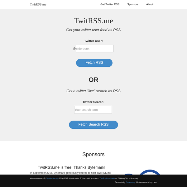 TwitRSS.me - rss of twitter user feeds by screenscraping with perl
