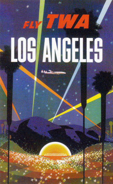 Fly TWA Los Angeles Hollywood Bowl , David Klein , ca. 1950's Vintage Travel Poster