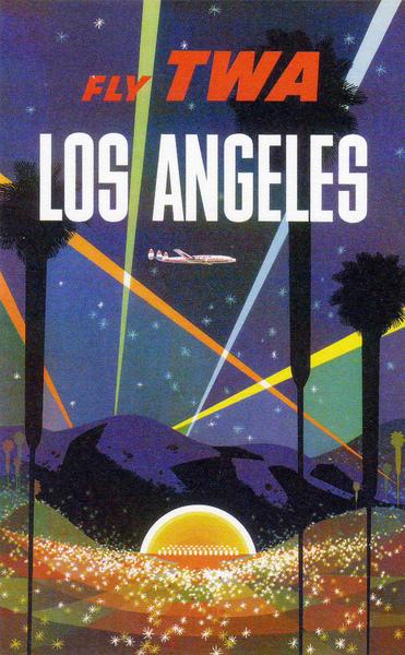 Fly TWA Los Angeles Hollywood Bowl , David Klein , ca. 1950's Vintage Travel Poster