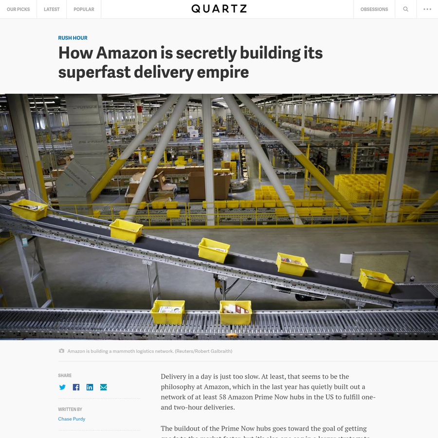 Delivery in a day is just too slow. At least, that seems to be the philosophy at Amazon, which in the last year has quietly built out a network of at least 58 Amazon Prime Now hubs in the US to fulfill one- and two-hour deliveries.