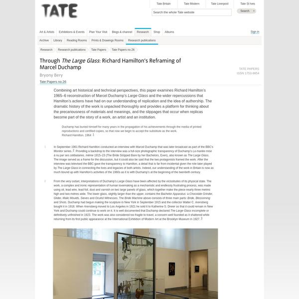 Through The Large Glass: Richard Hamilton's Reframing of Marcel Duchamp