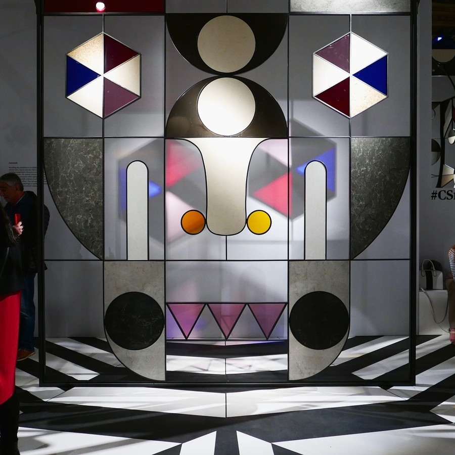 Jamie Hayon, installation with stained glass and caesarstone, from Salon del Mobile 2017 (sourced via Instagram)
