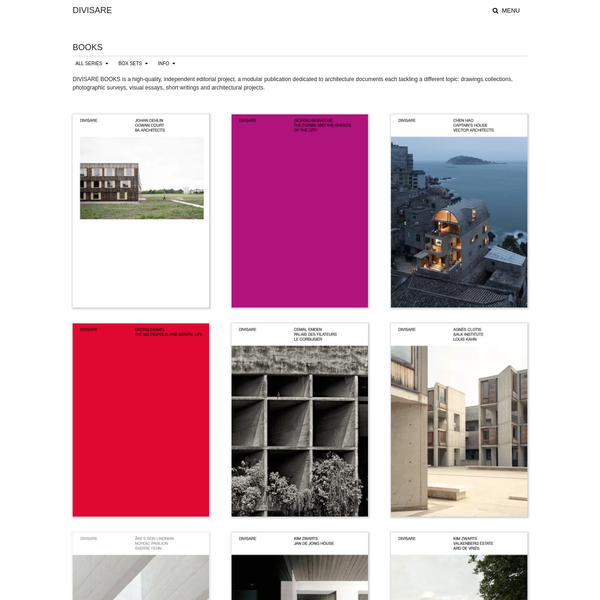 DIVISARE BOOKS is a high-quality, independent editorial project, a modular publication dedicated to architecture documents each tackling a different topic: drawings collections, photographic surveys, visual essays, short writings and architectural projects.