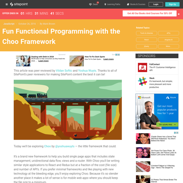 This article was peer reviewed by Vildan Softic and Yoshua Wuyts. Thanks to all of SitePoint's peer reviewers for making SitePoint content the best it can be! Today we'll be exploring Choo by @yoshuawuyts - the little framework that could.