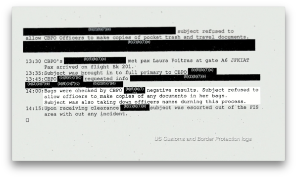 US Customs and Border Protection Logs—Citizenfour