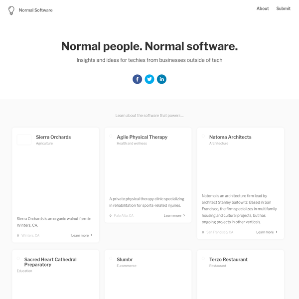 Normal Software is a website about the software that powers everyday businesses. Discover the software that powers organizations outside of the tech industry, why that software was chosen, and ideas on how it can be improved.