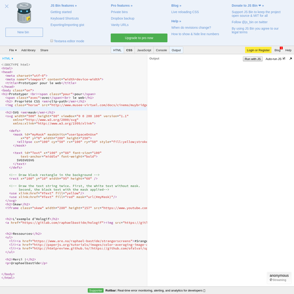 A live pastebin for HTML, CSS & JavaScript and a range of processors, including SCSS, CoffeeScript, Jade and more...