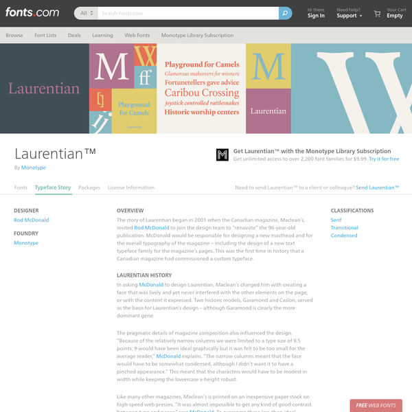 Laurentian™ Font Family Typeface Story - Fonts.com