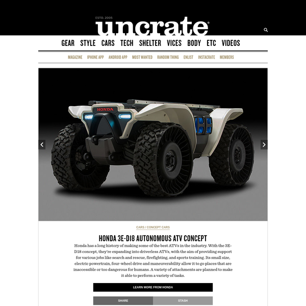 Honda has a long history of making some of the best ATVs in the industry. With the 3E-D18 concept, they're expanding into driverless ATVs, with the aim of providing support for various jobs like search and rescue, firefighting, and sports...