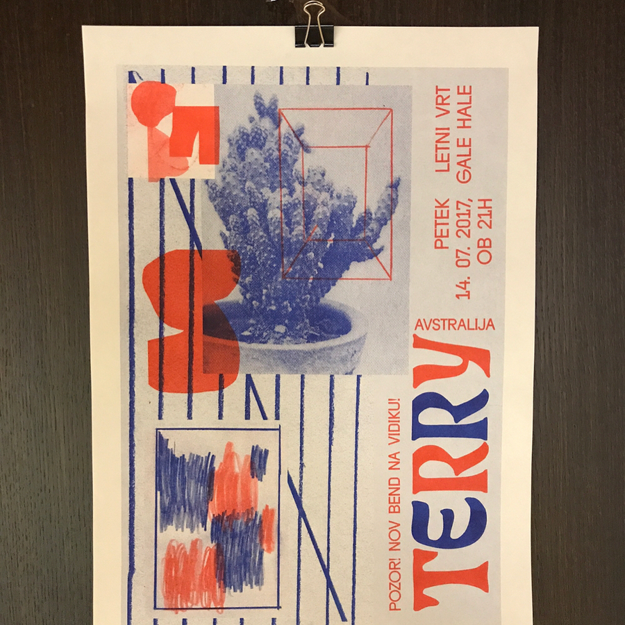 We printed poster for this australian band called Terry. They are playing in Ljubljana on July 14. And it's free. Design by: @zoranpungercar #riso #risograph #risoparadiso #print #artprint #art #drawing #abstract #abstractart #design #graphicdesign #collage #printspotters #printisnotdead #photography #poster #gigposter #punk #terry #totalcontrol #dickdiver #uvrace