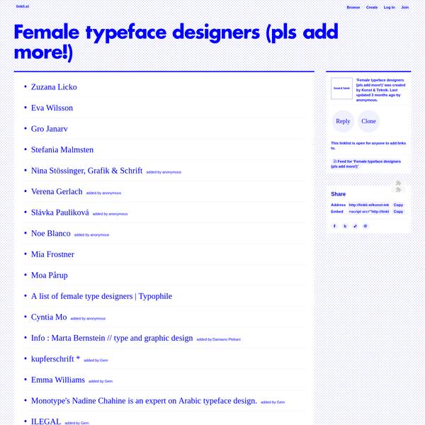 Female typeface designers (pls add more!) · linkli.st