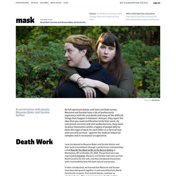 Death Work: Interview with Roxanne Baker and Saralee Gallien