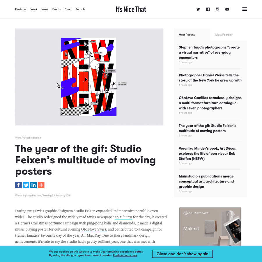 """During 2017 Swiss graphic designers Studio Feixen expanded its impressive portfolio even wider. The studio redesigned the widely read Swiss newspaper """"_20 Minuten_"""":https://www.itsnicethat.com/news/studio-feixen-20-minuten-one-off-redesign-jung-von-matt-samsung-020517 for the day, it created a Hermés Christmas perfume campaign with ping-pong balls and diamonds, it made a digital music playing poster for cultural evening """"Oto Nové Swiss,"""":https://www.itsnicethat.com/articles/studio-feixen-graphic-design-030317 and contributed to a campaign for trainer fanatics' favourite day of the year, Air Max Day."""
