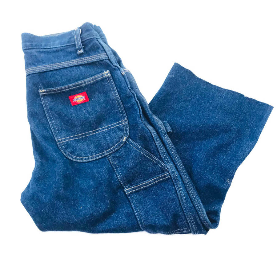 "Dickies Blue jean Denim Carpenter jeans. Cropped length Size: labeled 28 UL see measurements Measurements Waist: 30"" Inseam: 22 "" Rise: 10"" Leg opening: 9"""