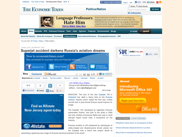 Superjet accident darkens Russia's aviation dreams - The Economic Times