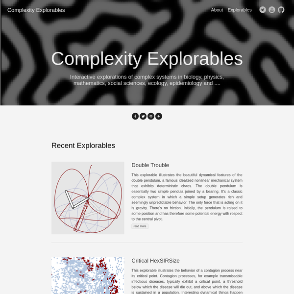 Interactive explorations of complex systems in biology, physics, mathematics, social sciences, ecology, epidemiology and ....