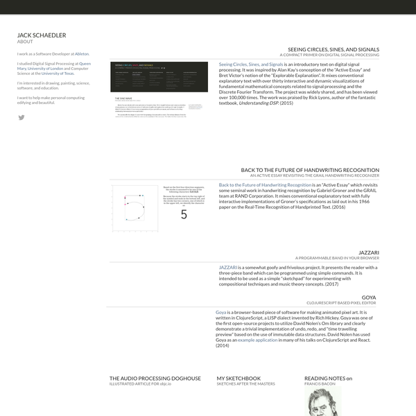 """Seeing Circles, Sines, and Signals is an introductory text on digital signal processing. It was inspired by Alan Kay's conception of the """"Active Essay"""" and Bret Victor's notion of the """"Explorable Explanation"""". It mixes conventional explanatory text with over thirty interactive and dynamic visualizations of fundamental mathematical concepts related to signal processing and the Discrete Fourier Transform."""